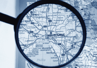 Magnified Melbourne map